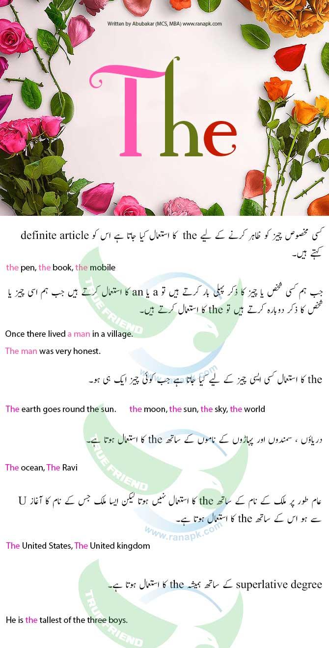 use of article urdu