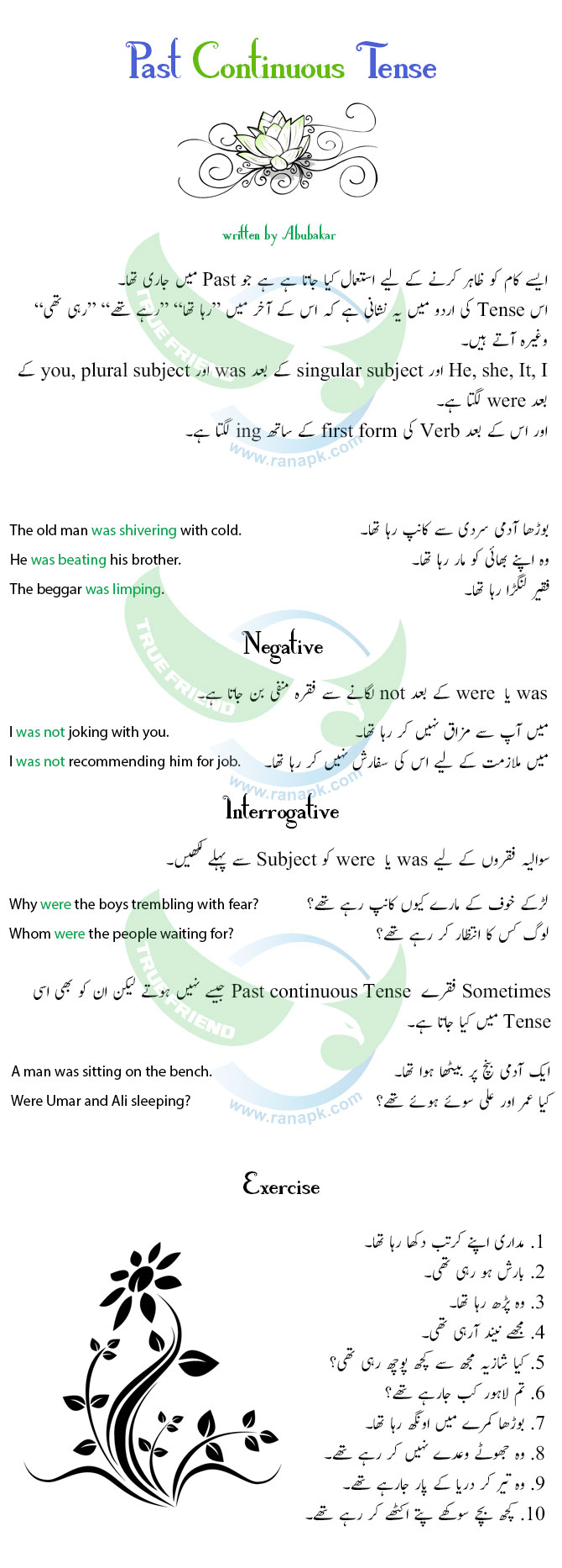 Past Continuous Tense Urdu