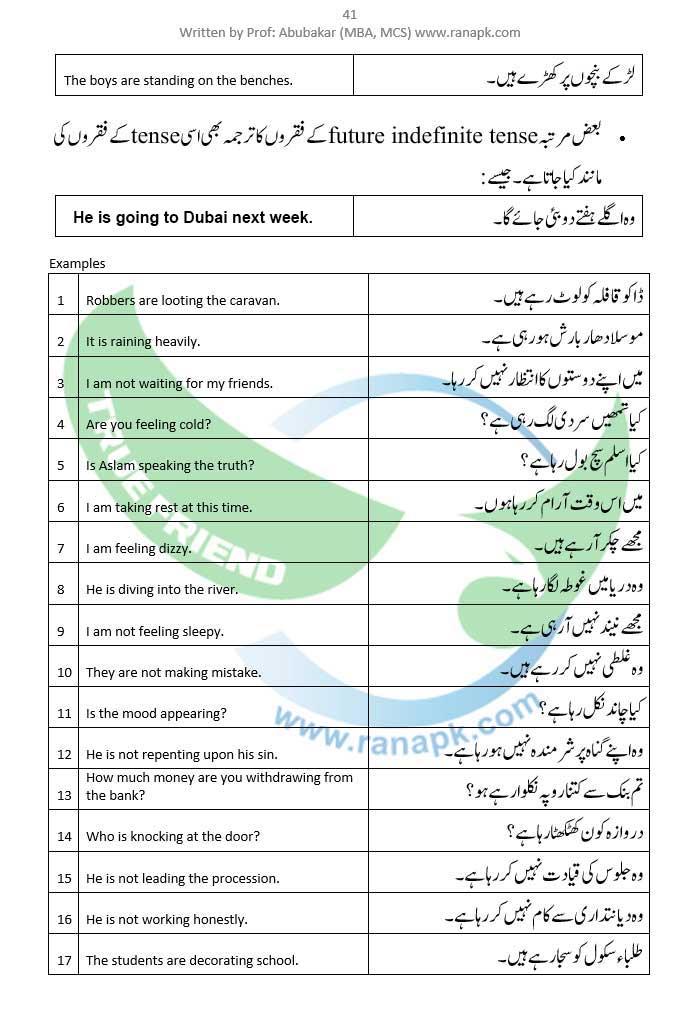 Present Continuous Tense Urdu 41g