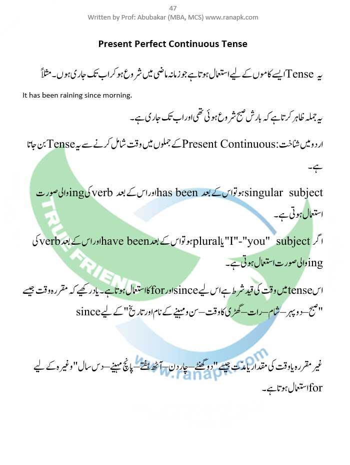 Present Perfect Continuous Tense urdu